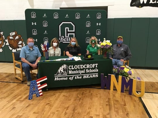 Pictured center is Britney Hickman, Cloudcroft High School's Salutatorian, who signed a letter of intent to play softball at Western New Mexico University.