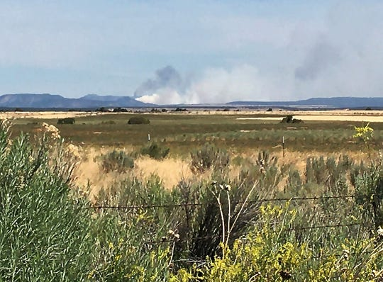 The East Canyon Fire is pictured, Monday, June 15, 2020, from Red Mesa, Colorado.