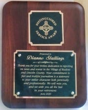 Honoring 29-years of dedication to Lincoln County as a reporter/journalist, June in Ruidoso is now Dianne Stallings.