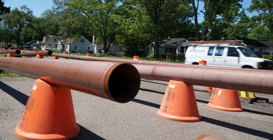 Consumers Energy gas pipeline lies along Middlebelt Road in Farmington Hills on June 15, 2020 as it is placed along the road from Eight Mile to a bit north of Nine Mile.