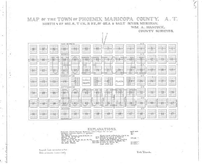 Phoenix was founded on William Hancock's townsite in 1880. Hancock's platt established the grid system and addressing points still used today.
