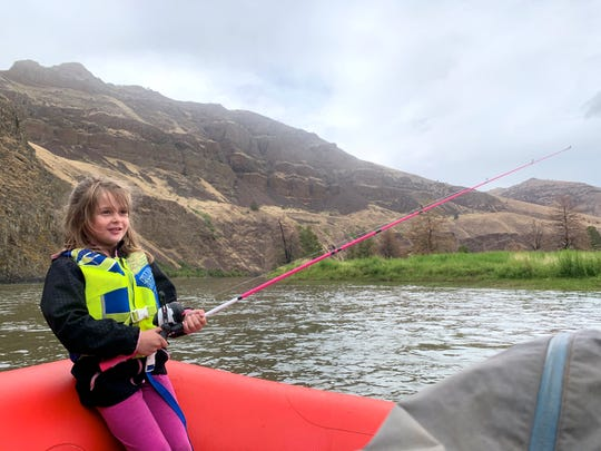 Lucy Urness, 5, fishing on the John Day River.