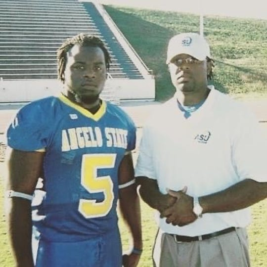 Tyrell McCrea poses with his brother, Frenchey, during their time at Angelo State University.