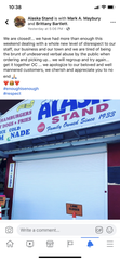 A Facebook post from Alaska Stand states why the business closed its doors on Monday.