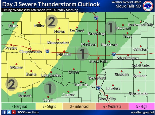 A chance of thunderstorms will return to the Sioux Falls area Wednesday afternoon and into Thursday morning. As of Monday, the area was under a marginal risk for any severe thunderstorms.