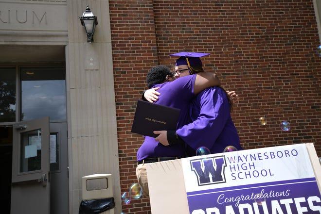 Waynesboro High School graduating seniors received a cheer section after graduating on June 15, 2020.