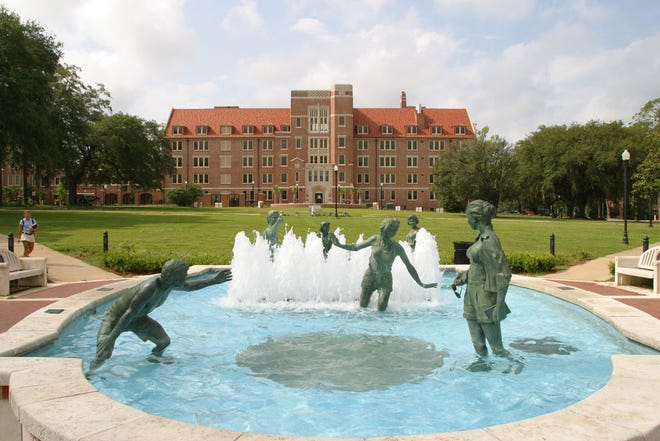 """Ed Jonas created the """"Legacy Fountain"""" on the FSU campus' Landis Green, with six life size figures."""