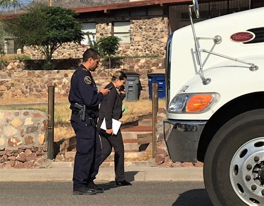 El Paso police investigators work on Comet Street after a police officer was shot on Monday, June 15, 2020.