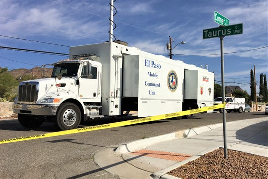 The El Paso Mobile Command Unit is at the scene where a police officer was shot on Comet Street on Monday, June 15, 2020.