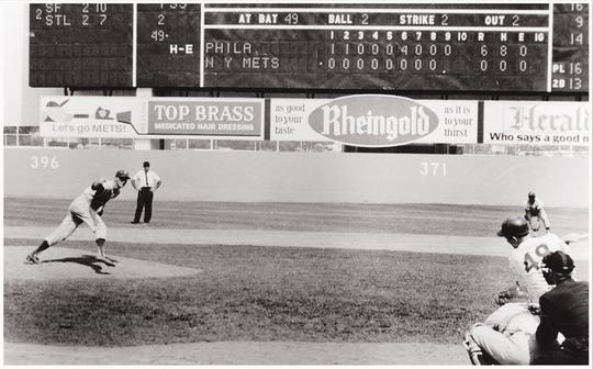 Phillies pitcher Jim Bunning caps off his perfect game by striking out the Mets' John Stephenson on June 21, 1964. It was the first perfect game in Phillies' history.