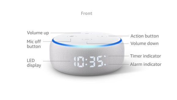 This new generation of Echo Dot comes with a fully visible numerical screen, perfect for quick time checks and more.