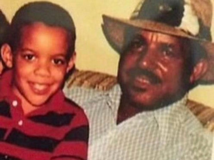 USA TODAY NFL columnist Mike Jones and his grandfather, Chester Jones, in 1988.
