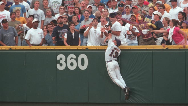 Twenty years ago Wednesday, LSU right fielder Ray Wright robbed Stanford's Joe Borchard of a three-run home run in the 2000 championship game of the College World Series. LSU would score the winning run in the bottom of the ninth to defeat Stanford, 6-5, for the program's fifth national championship.