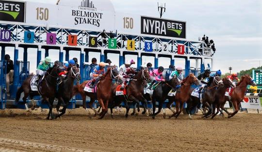 Kuda-kuda pecah dari gerbang awal pada awal 150 kali pacuan kuda Belmont Stakes di Belmont Park di Elmont, NY pada 2018. Taruhan Belmont akan dijalankan 20 Juni 2020, tanpa kipas dan berfungsi sebagai kaki pembuka kuda Triple Crown balap untuk pertama kalinya dalam sejarah olahraga.