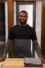 """Darian Barnes on the set of Food Network's """"Worst Cooks in America."""""""