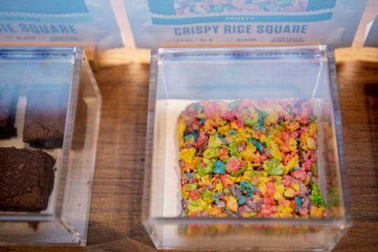 A crispy rice square made with cannabis is for sale at Michigan Supply and Provisions on Tuesday, June 16, 2020 in Battle Creek, Mich. Recreational marijuana is available at this new dispensary, located next to Citgo on B Dr. N.