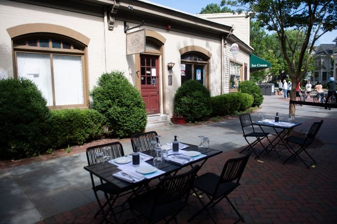 Outdoor seating from Valente's in downtown Haddonfield, as restaurants and business continue to reopen for dining on site. Valente's will soon be renamed Valente's Cucina, a full-service restaurant.