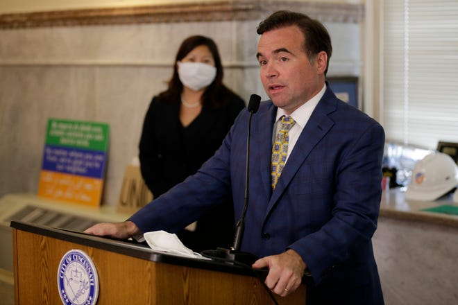 Cincinnati mayor John Cranley speaks in a press conference announcing the departure of city manager Patrick Duhaney in the mayor's office inside Cincinnati City Hall in downtown Cincinnati on Tuesday, June 16, 2020. Duhaney will be leaving Cincinnati for the city manager position in Virginia Beach, Virginia.