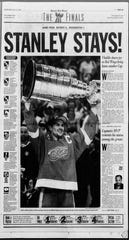 Detroit Free Press sports front page on June 17, 1998.