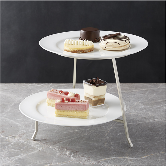 A tiered server with plates makes a pretty presentation for your festivities.