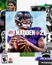 This image shows the cover of the Madden 21 video game, featuring Ravens quarterback Lamar Jackson, which will be released in August.