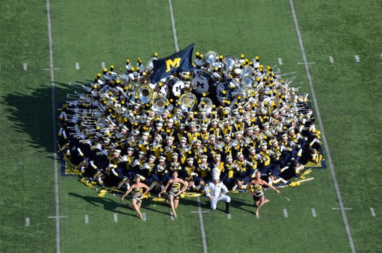 Over 200 members take part in the band's pregame and halftime shows at football games.