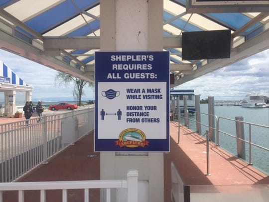 Signage is among the many safety measures Shepler's Mackinac Island Ferry has implemented this summer.