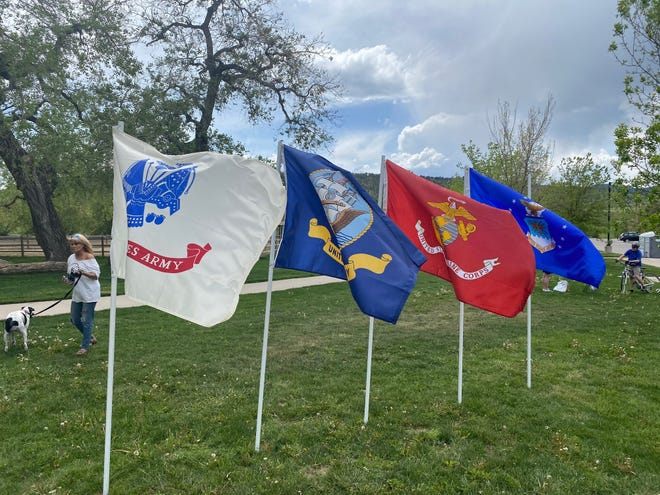 Service flags for branches of the U.S. military on display at Veterans Plaza of Northern Colorado in Fort Collins.