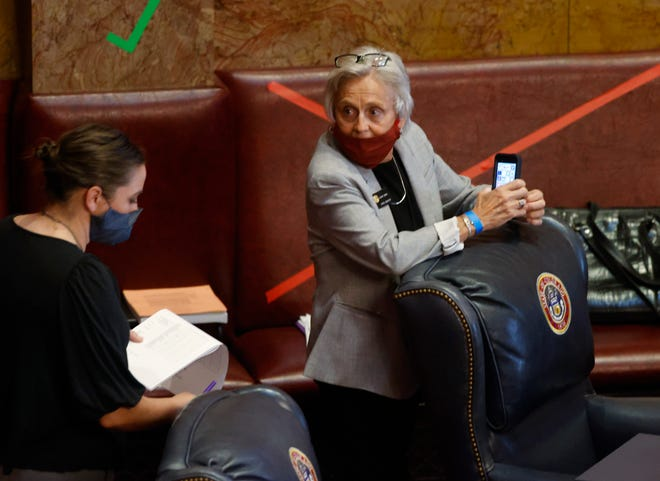 Colorado Sens. Kerry Donovan, D-Vail, left, and Joann Ginal, D-Fort Collins, are pictured in the Senate chambers as lawmakers try to wrap up the session in the State Capitol on Monday in Denver.
