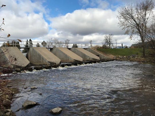 The dam at the Forestville Millpond, which is undergoing a controversial two-year drawdown.