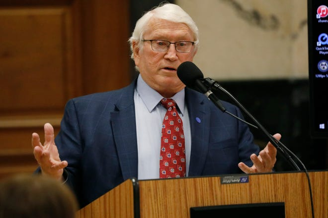 Burl Cain, the former warden at Angola prison in Louisiana, responds to a lawmaker's question during his confirmation hearing before the Senate Corrections Committee at the Capitol in Jackson, Miss., Tuesday, June 16, 2020. The committee unanimously endorsed Cain, who faced ethics questions in Louisiana, to be the new commissioner of Mississippi's troubled prison system. (AP Photo/Rogelio V. Solis)