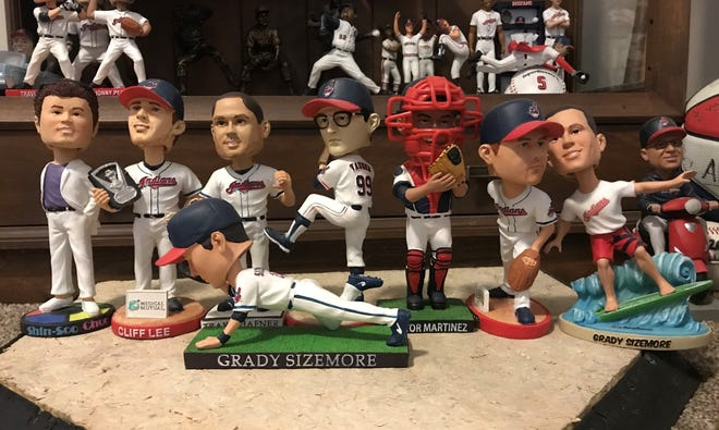 The 2009 Cleveland Indians stadium bobblehead giveaway featured figures of Shin-Soo Choo, Cliff Lee, Travis Hafner, Kerry Wood, Victor Martinez, Grady Sizemore and Wild Thing Rick Vaughn.