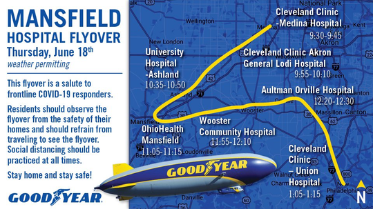 Here's the full schedule for Thursday's flyover.