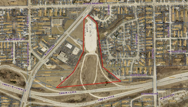 The area bordered in red shows the 16.3-acre tract of land the city of Greenfield is looking to purchase from the state and redevelop. The city plans to work with Cobalt Partners on the project, which would include rebuilding and possibly relocating a park and ride facility, now located on the north side of the parcel. The type of development has yet to be determined. The Turf skatepark, which is in the early stages of being redeveloped, lies to the west of the property, just north of the I-894 exit ramp to Loomis Road.