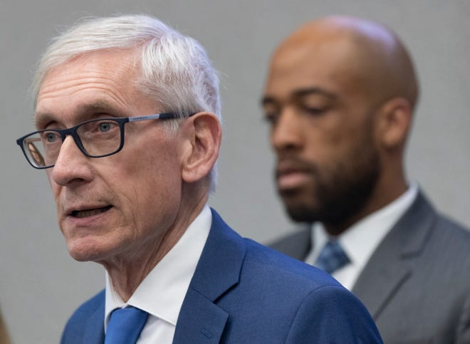 Gov. Tony Evers speaks at a briefing to discuss updates to the state's response to the coronavirus pandemic (COVID-19) Thursday, March 12, 2020 at the State Emergency Operations Center in Madison, Wis.