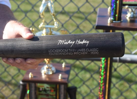 One of six bats given to individual award winners at the 34th annual Mickey Huskey Lockeroom Twin Lakes Classic.