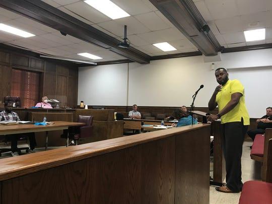 Elijah Brass addresses the Ouachita Parish Police Jury on Monday night.