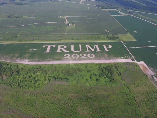 Brothers Darrell and Donnie Vandeven designed a Trump 2020 sign in one of their Tensas Parish soybean fields.