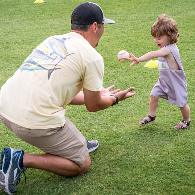 Father's Day guests at Riverwalk Stadium are invited to bring their own balls and gloves and play catch on the field Sunday.