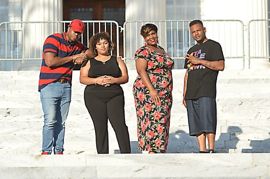"From left, Dru Toney, LadyK, Nikia Smith and Noah Baker reunite on the steps of the Alabama State Capitol, where part of the video of their song ""My City"" was shot five years ago."