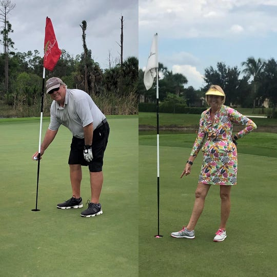 On June 6, John Wenclawski, left, made a hole-in-one on the 120-yard No. 12 at The Plantation Golf & Country Club in Fort Myers using a 9-iron.  On June 10, his wife, Mary, right, also made one, from 100 yards on No. 9 at the same course with a 7-iron.