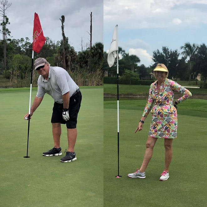 On June 6, John Wenclawski, left,made a hole-in-one on the 120-yard No. 12 at The Plantation Golf & Country Club in Fort Myers using a 9-iron. On June 10, his wife, Mary, right, also made one, from 100 yards on No. 9 at the same course with a 7-iron.