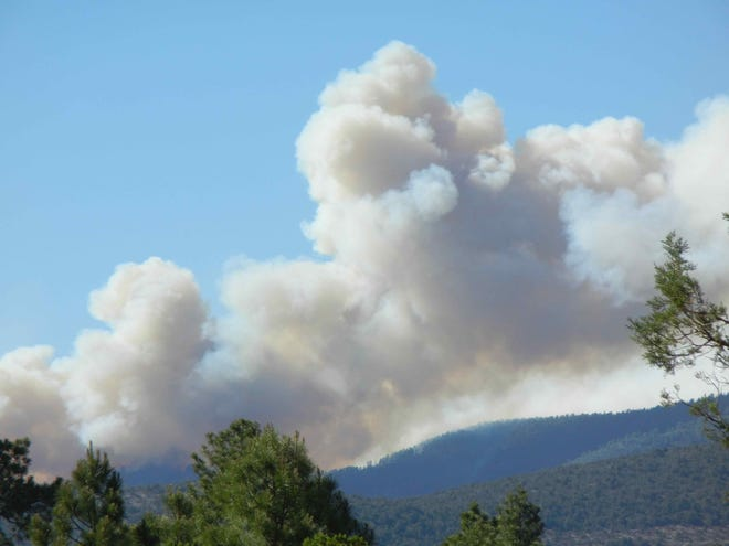 Smoke from the Tadpole Fire in the Gila National Forest is visible from Pinos Altos on June 10, 2020.