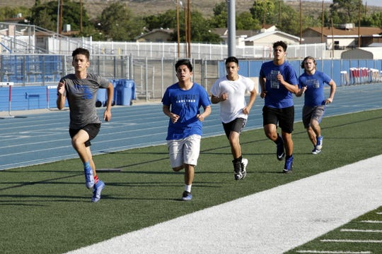 The Carlsbad football team works out on June 16, 2020. June 15 was the first day New Mexico high school students were allowed to participate in workouts since the COVID-19 pandemic began back in March.