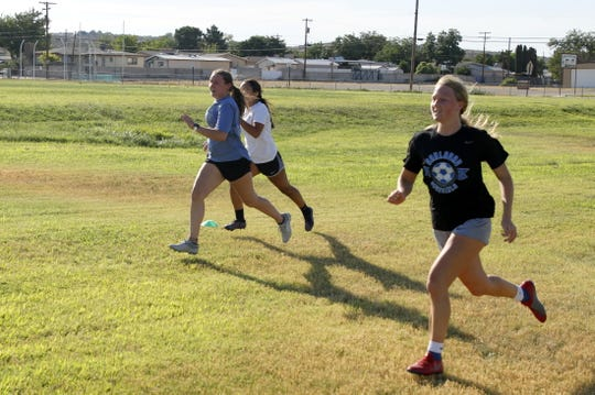 The Carlsbad Cavegirls soccer team completes its first summer workout on June 15, 2020. This was the first day student-athletes were allowed to exercise in limited groups due to COVID-19.