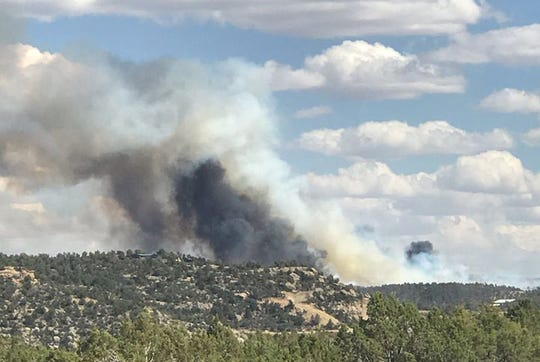A large airtanker, single engine airtankers and other assets are fighting the Six Shooter Fire just over the Colorado border near Bondad Hill, according to Durango Interagency Fire Dispatch, which posted this image.