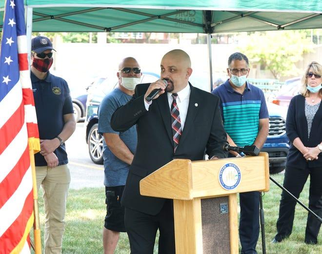 Wayne Mayor John Rhaesa speaks at the groundbreaking for a veterans' memorial on June 16, 2020.