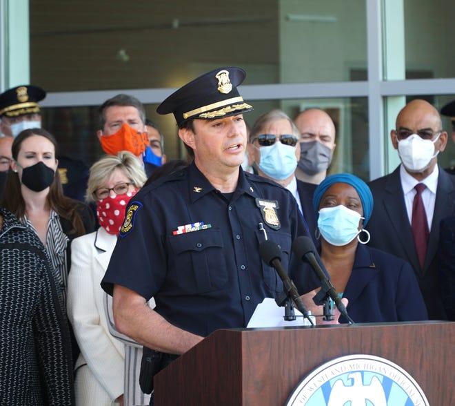 Westland Police Chief Jeff Jedrusik speaks on June 16, 2020, at City Hall.