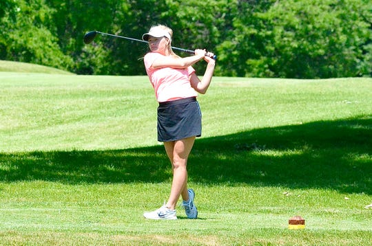 Almont senior Brandi Kautz tees off during the Golf Association of Michigan Junior Kickoff tournament on Monday, June 15, 2020, at Washtenaw Golf Club in Ypsilanti.
