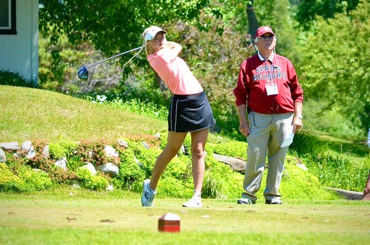 Almont senior Brandi Kautz tees off during the Golf Association of Michigan Junior Kickoff tournament on Monday, June 15, 2020, at Washtenaw Golf Club in Ypsilanti.